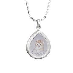 Yellow Tabby Kitten Silver Teardrop Necklace
