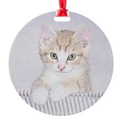 Yellow Tabby Kitten Ornament