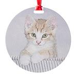 Yellow Tabby Kitten Round Ornament