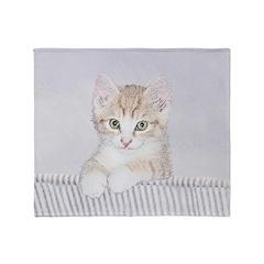 Yellow Tabby Kitten Throw Blanket