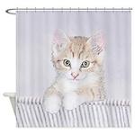 Yellow Tabby Kitten Shower Curtain