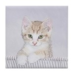 Yellow Tabby Kitten Tile Coaster