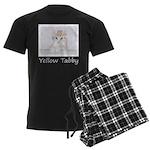 Yellow Tabby Kitten Men's Dark Pajamas