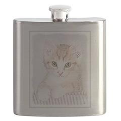 Yellow Tabby Kitten Flask