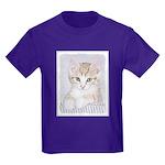 Yellow Tabby Kitten Kids Dark T-Shirt