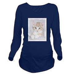 Yellow Tabby Kitten Long Sleeve Maternity T-Shirt
