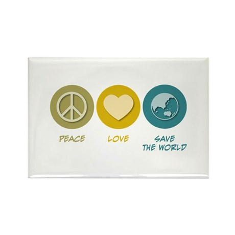 Peace Love Save the World Rectangle Magnet