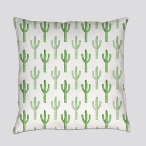 Cute Watercolor Cactus Pattern Everyday Pillow