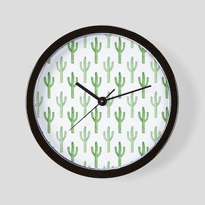 Cute Watercolor Cactus Pattern Wall Clock