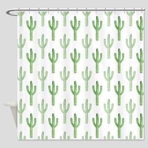 Cute Watercolor Cactus Pattern Shower Curtain
