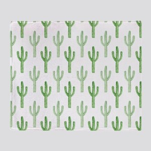 Cute Watercolor Cactus Pattern Throw Blanket