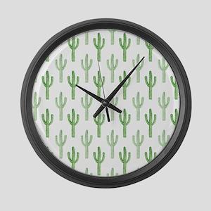 Cute Watercolor Cactus Pattern Large Wall Clock