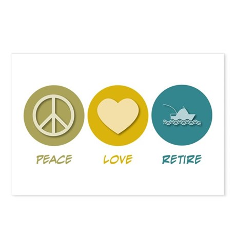 Peace Love Retire Postcards (Package of 8)