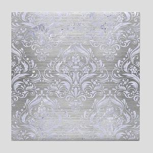 DAMASK1 WHITE MARBLE & SILVER BRUSHED Tile Coaster