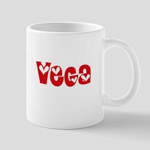 Vega Surname Heart Design Mugs