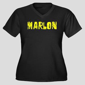 Marlon Faded (Gold) Women's Plus Size V-Neck Dark