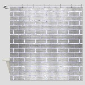 BRICK1 WHITE MARBLE & SILVER BRUSHE Shower Curtain
