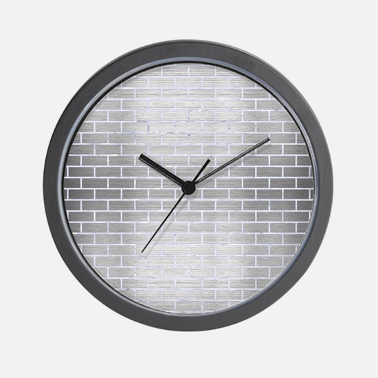 BRICK1 WHITE MARBLE & SILVER BRUSHED ME Wall Clock