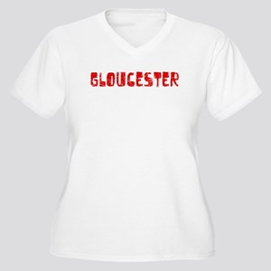 Gloucester Faded (Red) Women's Plus Size V-Neck T-
