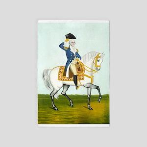 George Washington on a White Stallion 4' x 6' Rug