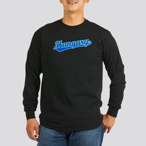 Retro Hungary (Blue) Long Sleeve Dark T-Shirt