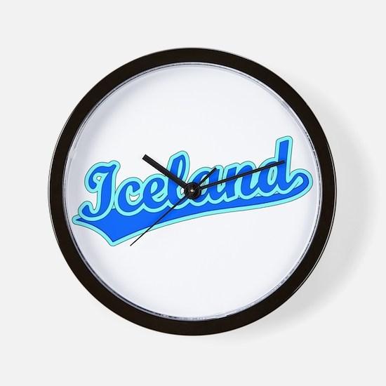 Retro Iceland (Blue) Wall Clock