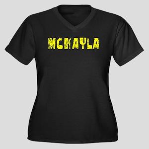 Mckayla Faded (Gold) Women's Plus Size V-Neck Dark