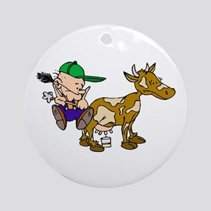 Milking Cow Ornament (Round)