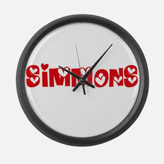 Simmons Surname Heart Design Large Wall Clock