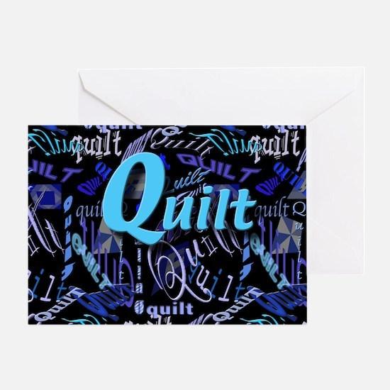 Quilt Blue Dark Greeting Card