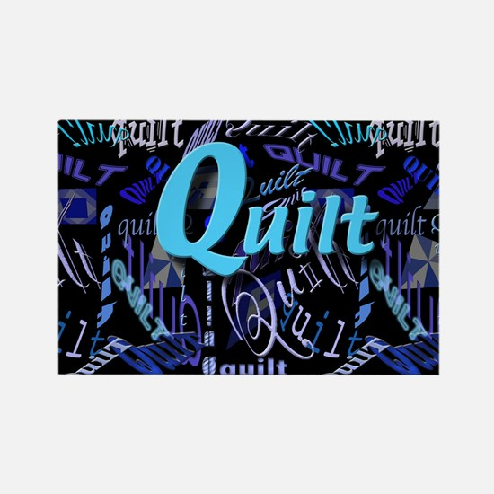 Quilt Blue Dark Rectangle Magnet