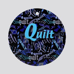 Quilt Blue Dark Ornament (Round)