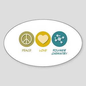 Peace Love Polymer Chemistry Oval Sticker