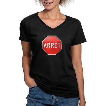 Stop, Quebec (CA) Women's V-Neck Dark T-Shirt