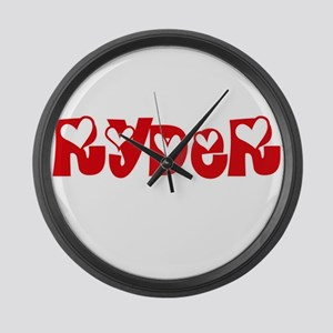 Ryder Surname Heart Design Large Wall Clock
