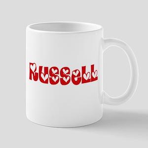Russell Surname Heart Design Mugs
