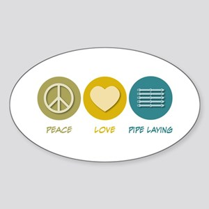 Peace Love Pipe Laying Oval Sticker