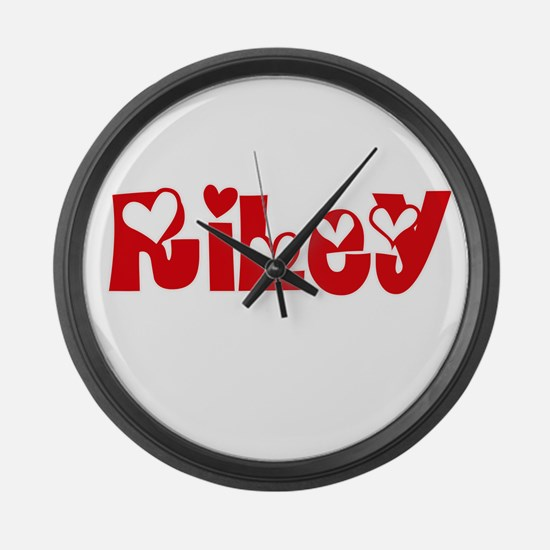 Riley Surname Heart Design Large Wall Clock