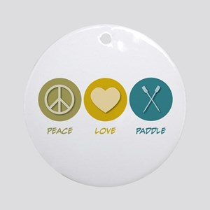 Peace Love Paddle Ornament (Round)