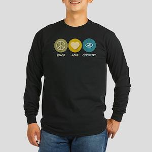 Peace Love Optometry Long Sleeve Dark T-Shirt