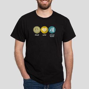 Peace Love Office Work Dark T-Shirt