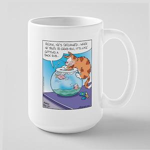 Cat gives Fish Back Rub Large Mug