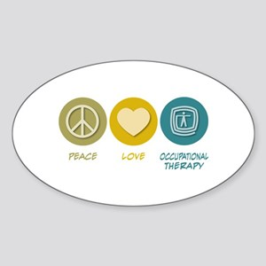 Peace Love Occupational Therapy Oval Sticker