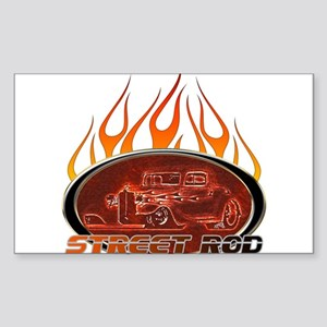 Glowing Street Rod Rectangle Sticker