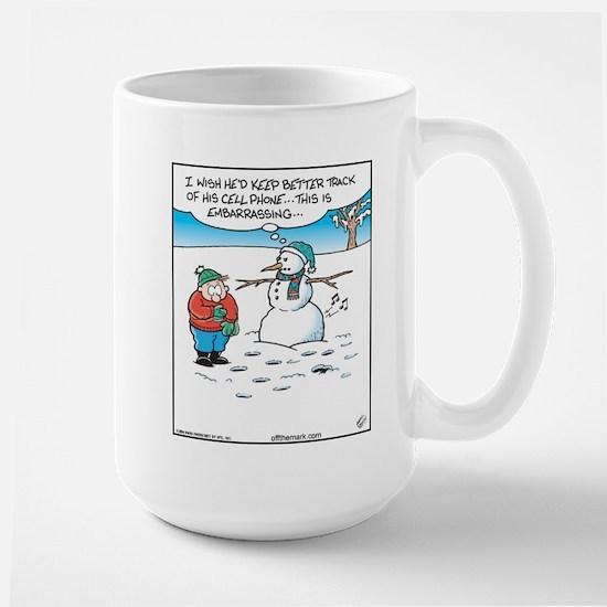 Cell Phone Snowman Large Mug