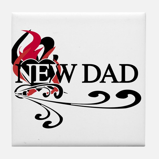 Heart New Dad Tile Coaster