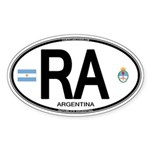 Argentina Euro Oval Oval Sticker (50 pk)