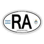 Argentina Euro Oval Oval Sticker (10 pk)