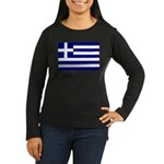 Greek Flag Women's Long Sleeve Dark T-Shirt