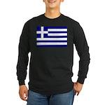 Greek Flag Long Sleeve Dark T-Shirt